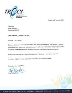 lettre de reconnaissance de la TROCL